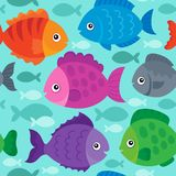 Seamless background stylized fishes 1 Stock Image