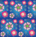 Seamless background with stylized flowers. Beautiful seamless background with stylized flowers on blue Stock Image