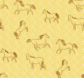Seamless background with stylized horses Stock Photo