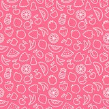 Seamless pattern with contours of fruit Stock Photo
