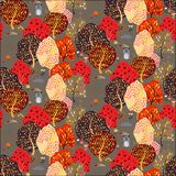 Seamless background with stylized trees. Forest bright pattern. Vector illustration vector illustration
