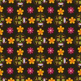 Seamless background with sugar skulls and flowers. Seamless vector wallpaper with ornated sugar skulls and flowers. Perfect modern pattern for textile, wallpaper Royalty Free Stock Photography