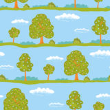 Seamless background summer landscape green trees and blue sky with white clouds. Vector illustration Stock Image
