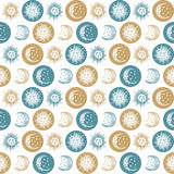 Seamless background sun and the moon retro vintage Stock Photography