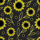 Seamless  background with sunflowers Royalty Free Stock Images