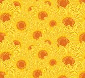Seamless background sunflowers. Royalty Free Stock Image