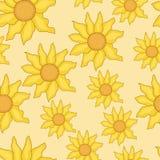 Seamless background of sunflowers Stock Photos