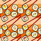 Seamless background of sushi roll Stock Image