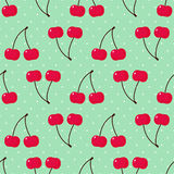 Seamless background with sweet cherry. Cute vector cherry pattern. Stock Images