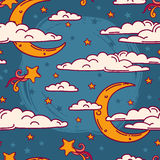Seamless background for sweet dreams with doodle moons and clouds Royalty Free Stock Photography