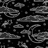 Seamless background for sweet dreams with doodle moons and clouds Royalty Free Stock Image
