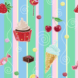 Seamless background with sweets and cupcake. Seamless striped texture with ice cream, candy and cupcake Royalty Free Stock Photography