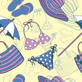 Seamless background with swimwear and beach objects Stock Images