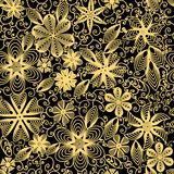 Seamless background with swirls, flowers and leaves. Illustration seamless background with swirls, flowers and leaves Stock Images