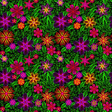 Seamless background with swirls, flowers and leaves Stock Image