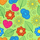 Seamless  background with swirls, leaves, flowers and hearts Stock Photography
