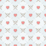 Seamless background with swords and hearts Stock Photo