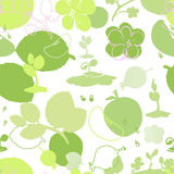 Seamless background symbolizing summer: sprouts, flowers, fruit Royalty Free Stock Photos