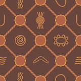 Seamless background with symbols of Australian aboriginal art Stock Images