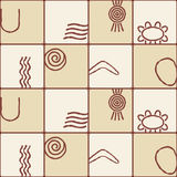 Seamless background with symbols of Australian aboriginal art Royalty Free Stock Photos