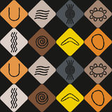 Seamless background with symbols of Australian aboriginal art. For your design vector illustration