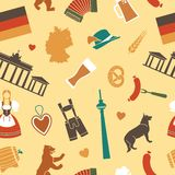 Seamless background with symbols of Germany Royalty Free Stock Image