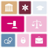 Seamless background with symbols of law and courts Stock Photography