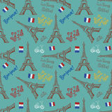 Seamless background with symbols of Paris Royalty Free Stock Images