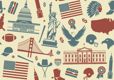Seamless background with symbols of the USA Stock Image
