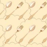 Seamless background of tableware on napkin Stock Photos