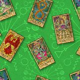 Seamless background with Tarot cards on green vector illustration
