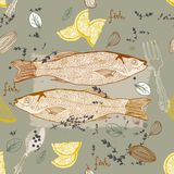 Seamless Background with fish dish. Seamless Background with taste fish dish Royalty Free Stock Photo