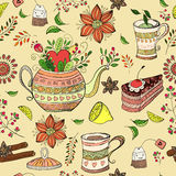 Seamless background with tea hand-drawn elements. Seamless doodle pattern. Tea, sweets and flowers Vector Illustration