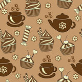 Seamless background with tea and sweets Royalty Free Stock Photos