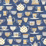 Seamless background with teacups and teapots Stock Photos