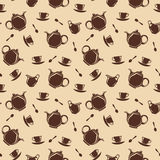 Seamless background with teapots and cups. Vector illustration. Royalty Free Stock Photos