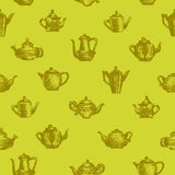 Teapots seamless background. Seamless background with teapots. Teatime vector illustration
