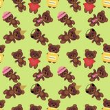 Seamless background with teddy bears Stock Photo