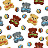 Seamless background with teddy bears and balls. Toys Royalty Free Stock Photos