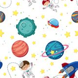 Seamless background template with astronauts and planets Stock Photo