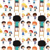 Seamless background template with happy children writing Royalty Free Stock Images