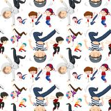 Seamless background template with kids dancing