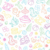 Seamless background, texture, backdrop, pattern, wallpaper with children cartoon doodle toys. Educational games for kids Royalty Free Stock Images