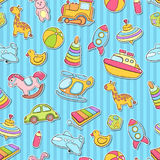 Seamless background, texture, backdrop, pattern, wallpaper with children cartoon doodle toys. Educational games for kids Stock Photos