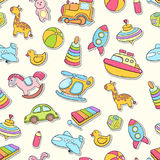 Seamless background, texture, backdrop, pattern, wallpaper with children cartoon doodle toys. Educational games for kids Stock Photo