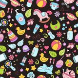 Seamless background, texture, backdrop, pattern, wallpaper with children cartoon doodle toys. Educational games for kids. Seamless background, texture, backdrop Royalty Free Stock Photos