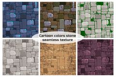 Seamless background texture different color stone wall. Vector illustration For Ui Game element. View from above seamless background texture different color vector illustration