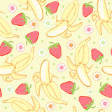Seamless background texture strawberry and banana Royalty Free Stock Photo