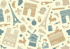Seamless background on a theme of France Stock Photography