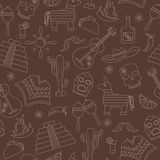 Seamless background on the theme of recreation in the country of Mexico, contour icons on a brown background Royalty Free Stock Image